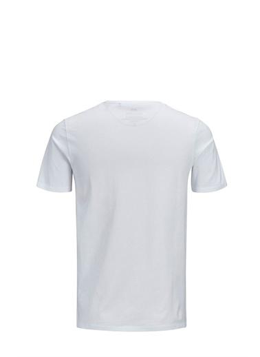 Jack & Jones Tişört Corp Logo Crew Neck 12137126-Wht Beyaz
